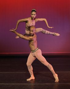Alvin Ailey American Dance Theater's Belen Pereyra  and Vernard J. Gilmore in Alvin Ailey's Hidden Rites.  Photo by Paul Kolnik