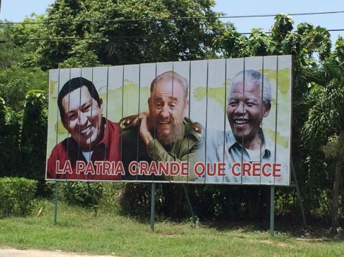 Billboard showing propaganda of the revolution